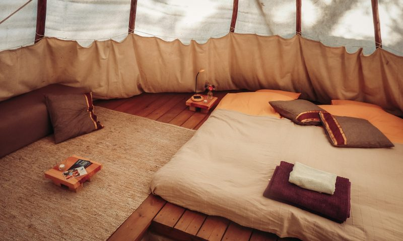 Inside a double bed Tipi